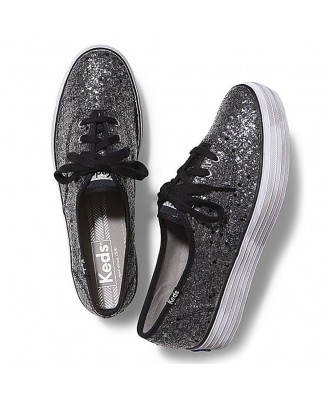Keds Women TRIPLE GLITTER BLACK  Shoes